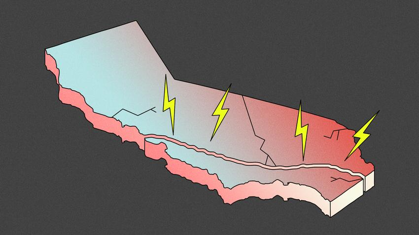 cartoon outline of California with blue to red gradient and lightening bolts