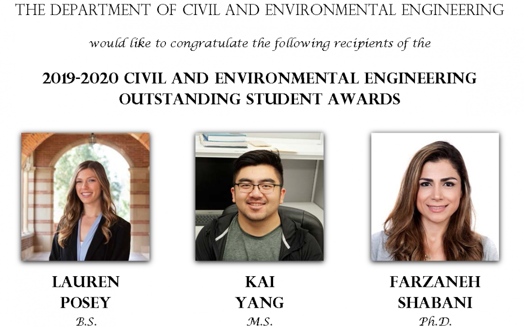"""image text: """"The Department of Civil and Environmental Engineering would like to congratulate the following recipients of the 2019-2020 Civil and Environmental Engineering Outstanding Student Awards: Lauren Posey, B.S., Kai Yang, M.S., Farzaneh Shabani, Ph.D."""" also has photos of Lauren Posey, Kai Yang, and Farzaneh Shabani"""