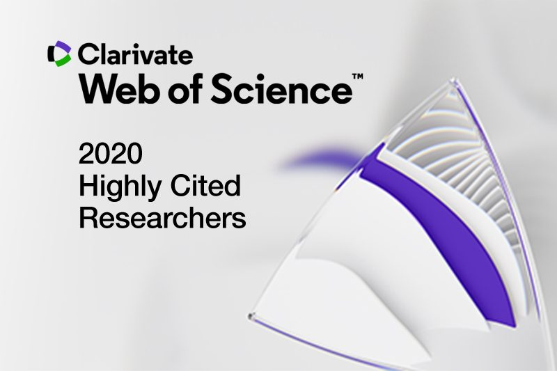 """Clarivate logo. Black text reads """"Clarivate Web of Science 2020 Highly Cited Researchers"""""""