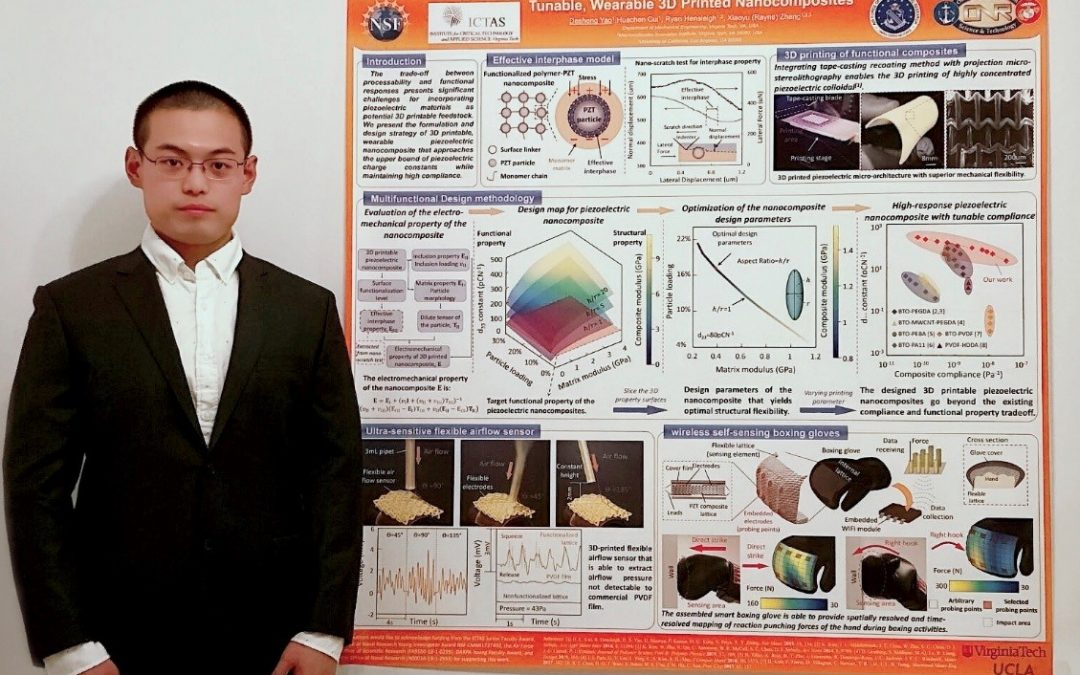 """PhD student Desheng Yao stands to left of poster titled """"Achieving the Upper Bound of Pienzoelectric Response in Tunable, Wearable 3D Printed Nanocomposites"""""""