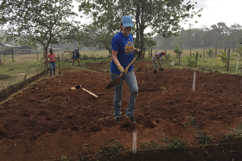 An EWB member at the Nicaragua construction site prior to the pandemic
