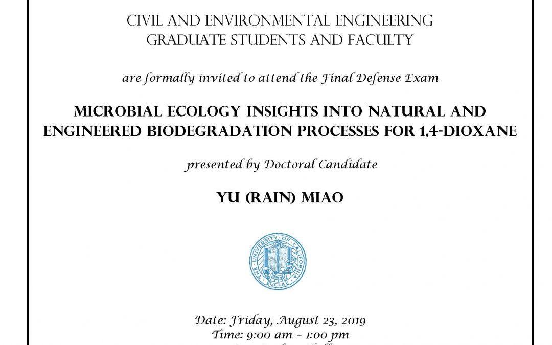 Defense Exam – Yu (Rain) Miao