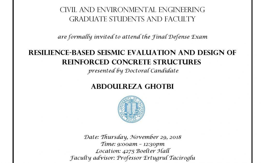 Defense Exam – Abdoulreza Ghotbi