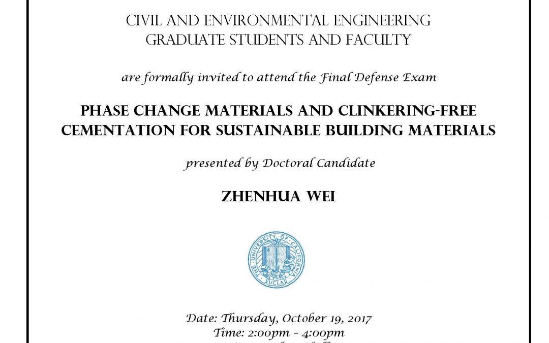 Defense: Zhenhua Wei