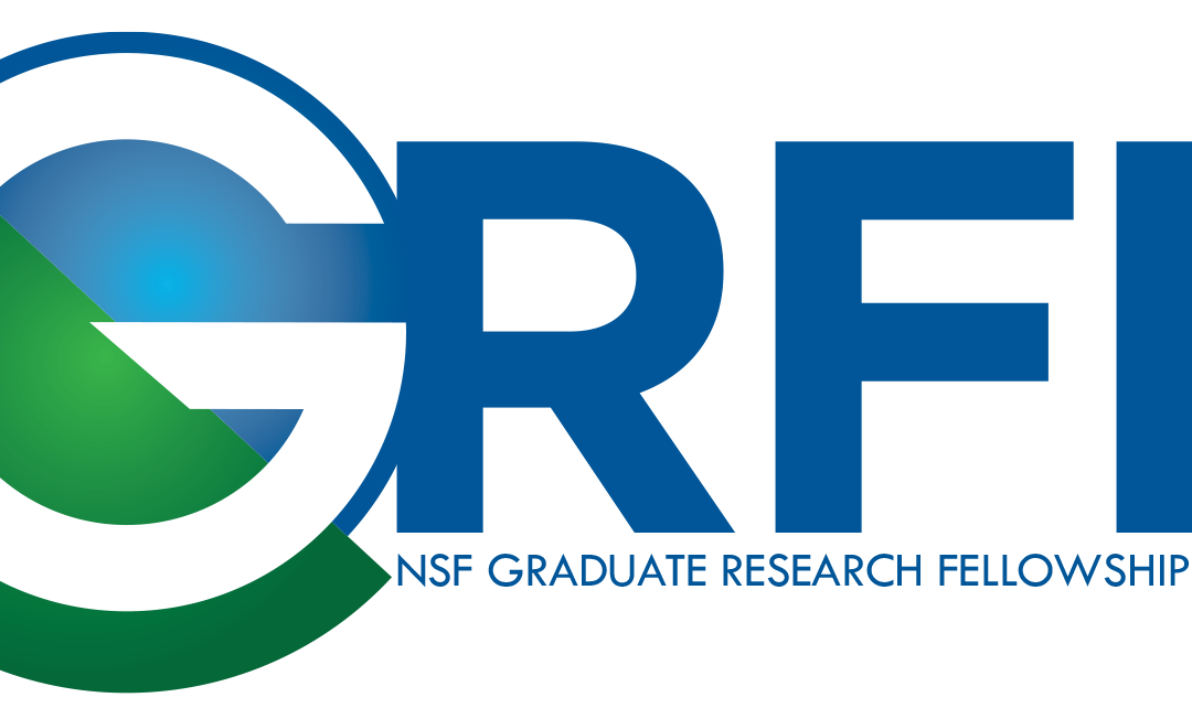 "GRFP logo in large blue letters, except for the G, which is larger, white with a blue circle behind it, with a green semicircle to the left at an angle cutting through the middle. under the logo reads ""NSF Graduate Research Fellowship Program"""