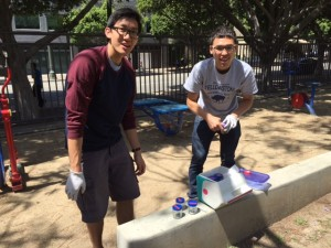 Wei-Cheng Wayne Hung and Kevin Ho, M.S. Candidates, collecting samples.