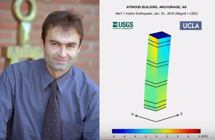 Dr. Ertugrul Taciroglu headshot to left of diagram of Atwood Building structure during 7.1 earthquake