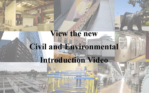 """collage of images of buildings, hurdles, a train, the bruin bear, with text overlaid saying """"Wiew the new Civil and Environmental Introduction Video"""""""
