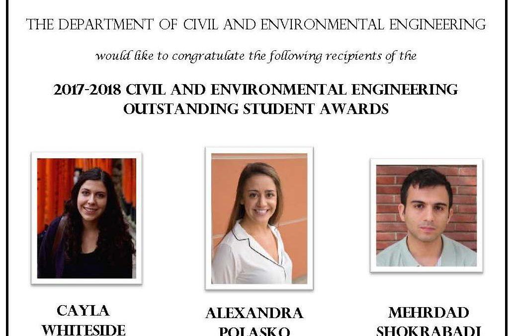 2017-18 C&EE Outstanding Student Awards