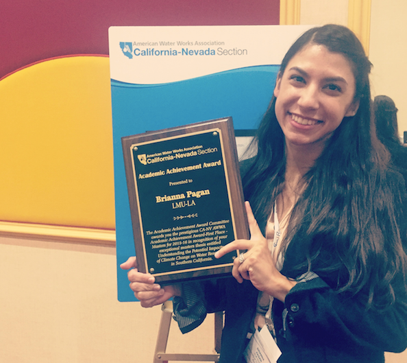PhD Student, Brianna Pagan, Receives 2015 California-Nevada American Water Works Association's Academic Achievement Award