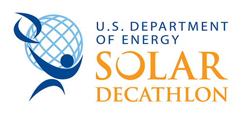"on left: a dark blue abstract stick figure in front of a light blue sphere with vertical and horizontal lines. on right, image reads ""U.S. Department of Energy Solar Decathlon"""